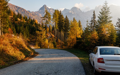 Fotomurales - Awesome alpine highlands in sunny day. Road Trip Concept, Car Driving Travel in Fall and Autumn Season, Lake, beautiful Foliage and Mountains  as background. Julian Alps. Slovenia. Creative image