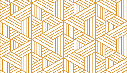 Fotorolgordijn Geometrisch Abstract geometric pattern with stripes, lines. Seamless vector background. White and gold ornament. Simple lattice graphic design