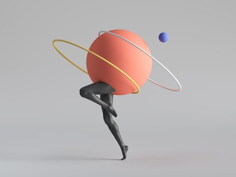 3d render, abstract minimal surreal contemporary art. Geometric concept, black legs jump dance,yellow ring, red ball isolated on white background. Modern fashion composition, funny freak performance