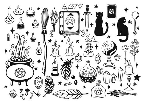 Witchcraft, magic background for witches and wizards. Vector vintage collection. Hand drawn magic tools, concept of witchcraft. Drawn magic tools: book, candles, potions, broom, crystals, cauldron.