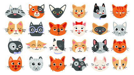Big collection of cat faces with different emotions. Funny and cute vector illustration set isolated on white background for poster, banner, web, design Wall mural