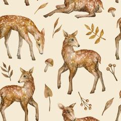 Modèle sans couture aquarelle avec mignon bébé cerf pommelé. Petits animaux et plantes sauvages de la forêt. Arrière-plan dans le style nature pour textile pour enfants, papier peint, emballage, couvertures.