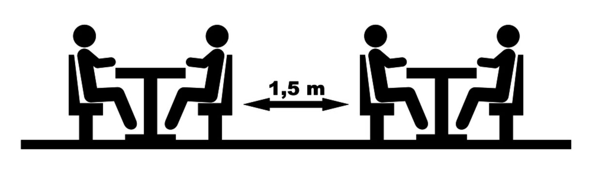 table spacings in public dining rooms, vector icon