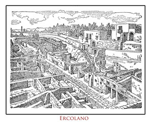 Illustrated table from a vintage Italian Lexicon of Ercolano (Herculaneom) destroyed by Vesuvius eruption in 79 DC,  ancient Roman archeological site near Naples and Pompei