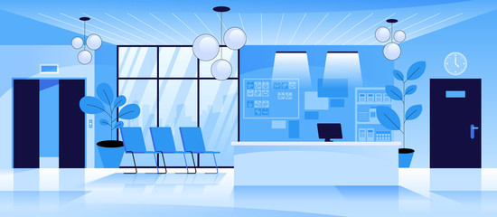 Hospital or business modern office reception Clinic or hotel interior in blue colors Lobby waiting hall with counter seats doors and elevator Empty no people medical clinic interior Vector banner