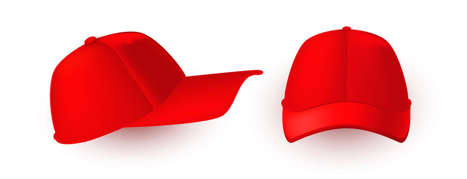 Red cap isolated on white. Front and side fiew of realistic 3D caps.