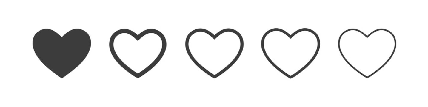 Heart vector icons. Vector set heart shape . Valentine's Day , medicine concept . Love passion concept. Romantic design. Gray hearts in the white background. Vector illustration