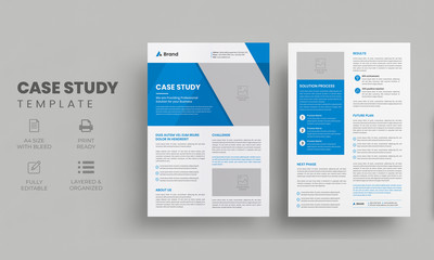 Case Study Template | Business Case Study Booklet Layout with blue elements | Double Side Flyer Template