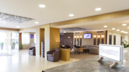 Focus on inscription reception in hotel lobby