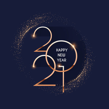 Happy new 2021 year Elegant gold text with light. Minimalistic text template.