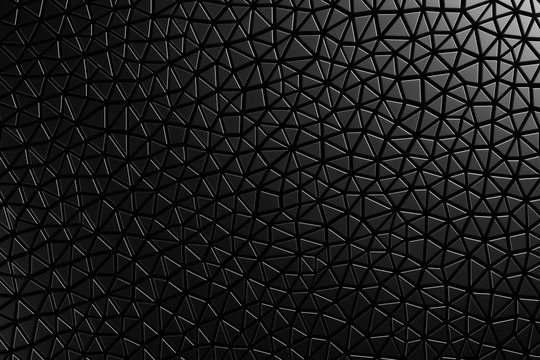 3D Seamless pattern asymmetric and geometric shaped leather background, light and dark gradients of black.
