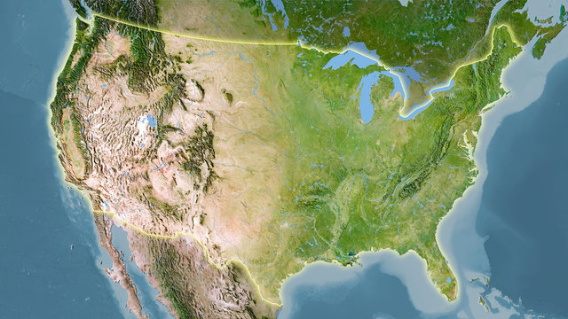 United States mainland, satellite C - light glow
