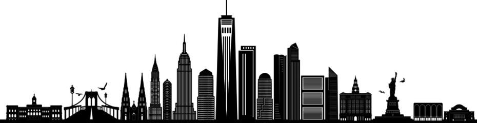 Fototapete - NEW YORK City Skyline Silhouette Cityscape Vector