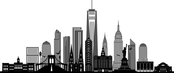 NEW YORK City Skyline Silhouette Cityscape Vector Wall mural
