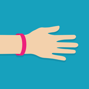 pink rubber wristband -vector illustration