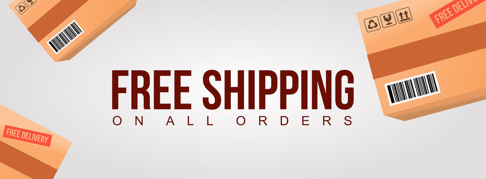 free shipping on all order clean banner with product cardboard shipment box background illustration