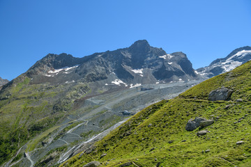 Wall Mural - View on retreating Fee glacier as seen from Langfluh above Saas-Fee