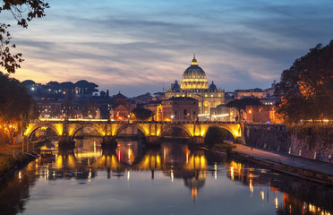 Fotomurales - Tiber and St Peter Basilica in Vatican