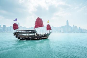 Foto En Lienzo - morning Hong Kong harbour, China