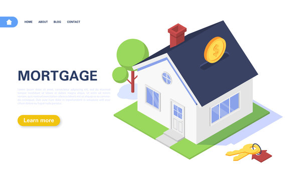 Mortgage banner concept. Residential building in the form of a piggy bank with coins on a white background. Real estate purchase and rental.
