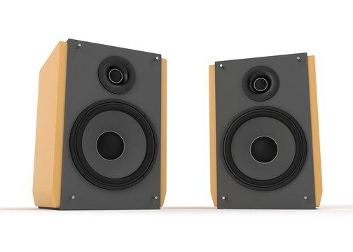 Audio speaker isolated on white 3d rendering
