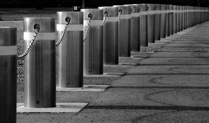 Metal Bollard On Footpath