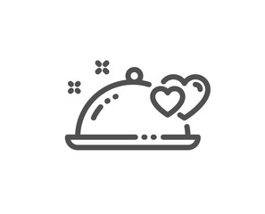 Romantic dinner line icon. Valentines day restaurant food sign. Couple relationships symbol. Quality design element. Editable stroke. Linear style romantic dinner icon. Vector