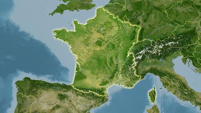 France, satellite B - light glow