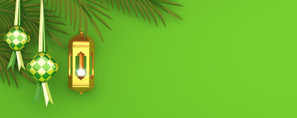 Fototapeten Lime grun Ketupat traditional food for eid mubarak or Selamat Hari Raya Idul Fitri in Indonesia or Malaysia, palm leaves on green, gold lantern background. Copy space text area, 3D rendering illustration.