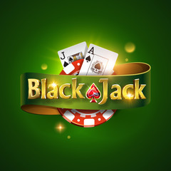 Blackjack logo with green ribbon and on a green background, isolated. Card game. Casino game. Vector illustration