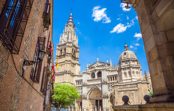 13th century high gothic Toledo Cathedral in Toledo, Spain.