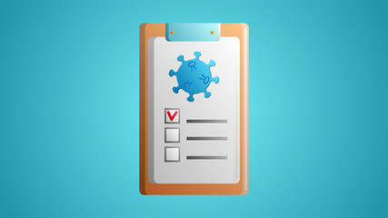 Questionnaire, document, medical history and diagnosis of the study of the disease of the coronovirus infection of the virus molecule on a blue background