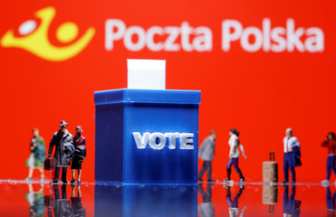A 3D printed ballot box and toy people figures are seen in front of displayed Poczta Polska logo in this illustration