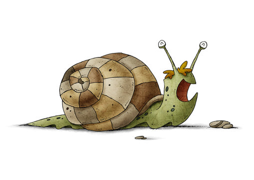 child's illustration of a green snail and a brown shell that is happy. isolated
