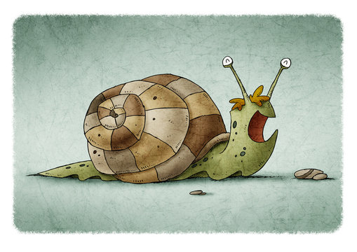 child's illustration of a green snail and a brown shell that is happy.