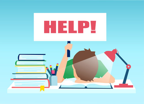 Vector of a tired boy sitting at the table with pile of books and holding help sign.