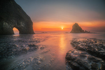 Wide angle photograph of a winter sunset at coastal Olympic National Park