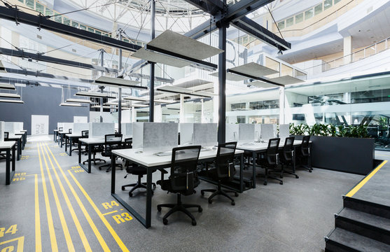 Big rental office with wrapped computers, no workers