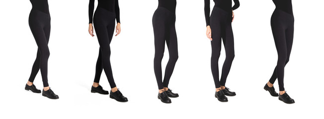 Set of woman wear black blank leggings mockup, isolated, clipping path. Women in clear leggins template. Sport pantaloons stretch tights model wearing. Slim legs in apparel. Wall mural