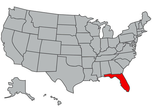 Vector map of the United States of America. Florida State illustration in gray color. Highlighted in red territory of the US. Contours of the USA. Study, economy, geography, demography, article