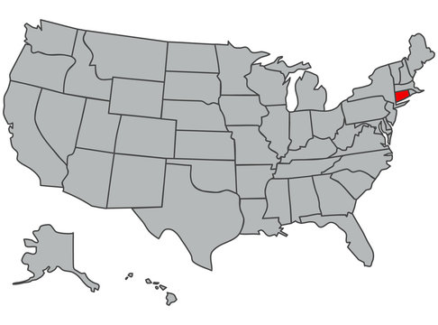 Illustration of Connecticut. Vector map of the USA in gray color. Contours of the United States of America. Territory of the US isolated in red. Economy, geography, web, article, news,