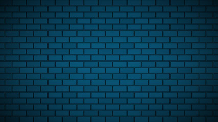 Empty brick wall with blue neon light with copy space. Lighting effect blue color glow on brick wall background. Royalty high-quality free stock photo image of blank, empty background for texture