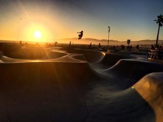 Venice Beach Skateboard Park At Sunset