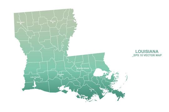 louisiana map. U.S. states louisiana vector map. united states of america map.