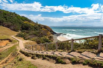 Coastline with walking path at Byron Bay, Australia