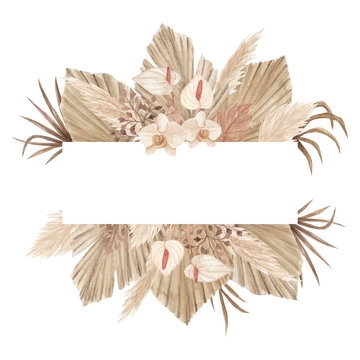 Watercolor bohemian banner with dried palm leaves, pampas grass, calla lily and orchids