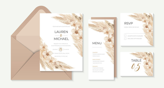 Pampas grass bachelorette party invitation template with calla lily watercolor illustration