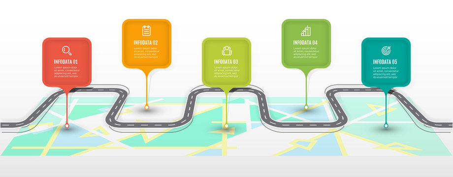 Road map infographic template. Business concept with icon and 5 options, steps or processes. Vector illustration.