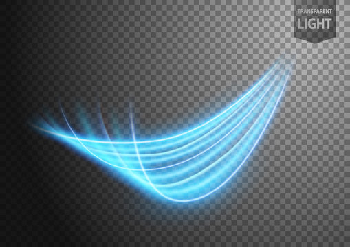 Abstract blue wavy line of light with a transparent background, isolated and easy to edit