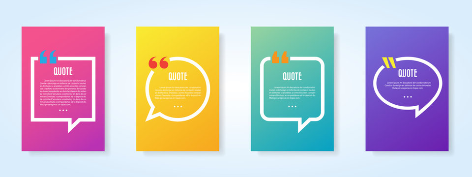 Quote speech bubble blank templates set.